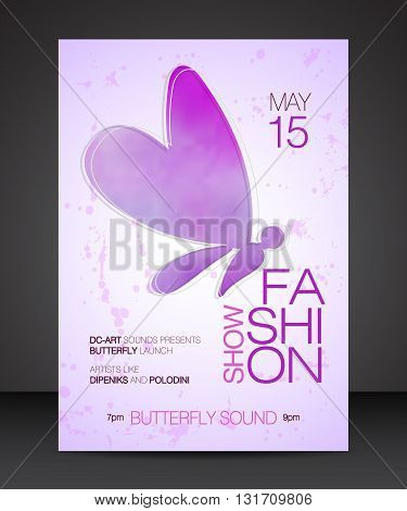 Vector stylish banner poster and flyer for fashion show with purple watercolor silhouette of beautiful butterfly