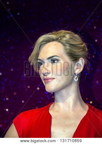 LONDON UK - JUNE 7 2015: Kate Elizabeth Winslet (born 5 October 1975) English actress and singer wax figure in Madame Tussaud museum. It is one of major tourist attraction.