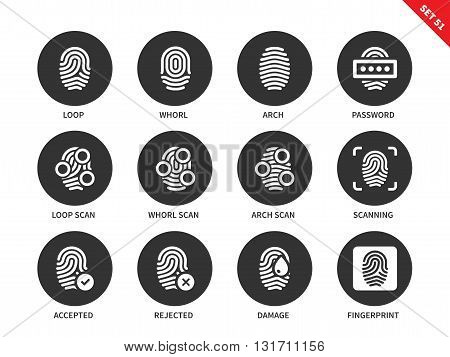 Fingerprint vector icons set. Access and security concept. Items for systems of protection, loop, whorl, arch, password, scanning, fingerprints. Isolated on white background.