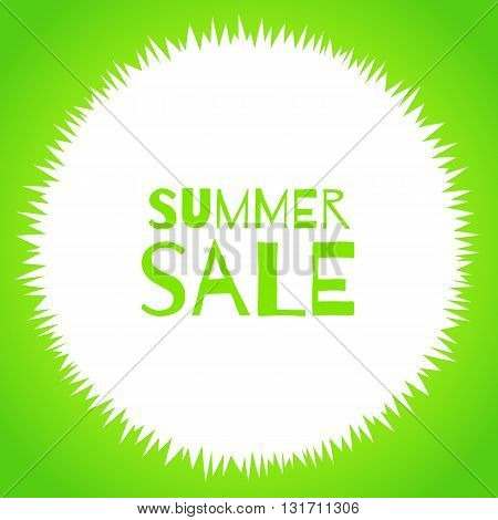 Vector round grass frame isolated on white background. Summer sale special offer template. Flat material. For packaging design promotions for shops natural eco products farm vegan green market.