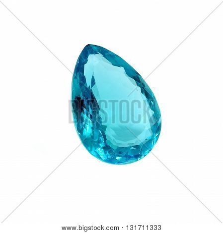 Blue Topaz Pear Shape Isolated on White.