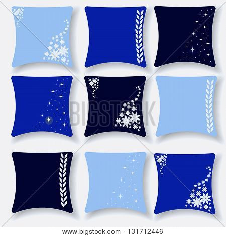 Set of cushions for the interior in blue and blue tones vector illustration