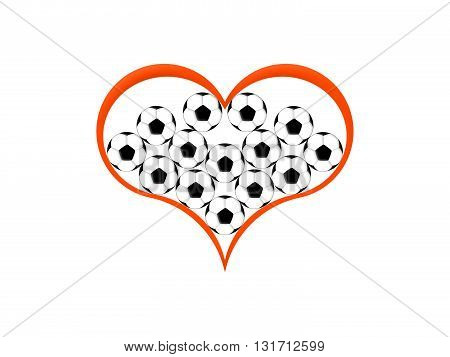 Symbol of the heart and soccer balls on a white background