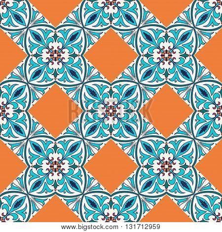 Vector seamless texture. Beautiful colored pattern for design and fashion with decorative elements. Portuguese tiles Azulejo Talavera Moroccan ornaments
