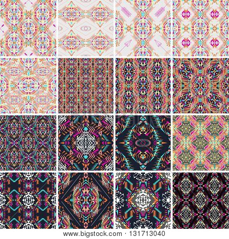 Vector seamless texture. Set of tribal colorful patterns for design. Electro boho color trend. Aztec ornamental style. Ethnic native american indian ornaments