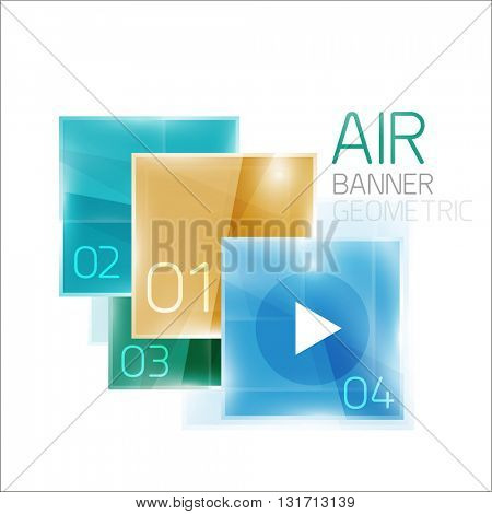 Business square geometric diagram. Glass effect with shiny elements