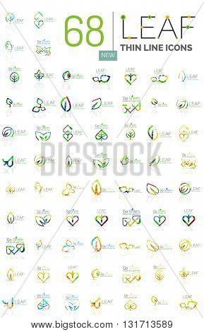 Thin line leaf geometric flat style symbols or logotypes. Nature green environmental concept, new life idea in various color variations. Eco love heart