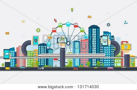 Smart City with business signs. Modern design city of the future technologies. Online business concept with a phone in hands.