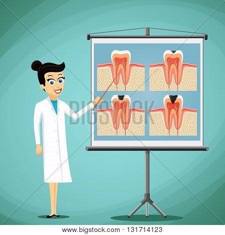 Doctor dentist shows on a blackboard diagram of the human tooth. Stock vector illustration.