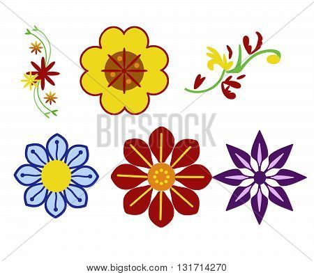 Six flower ornaments in different colors like violet, yellow, red, orange and green.