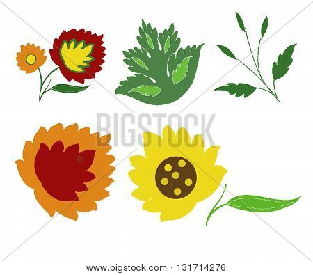 Six flower ornaments in different colors like dark red, yellow, orange, green and brown.