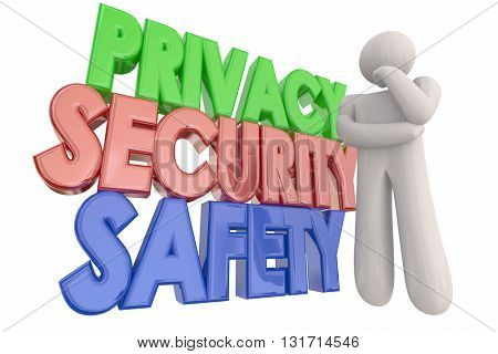 Privacy Security Safety Danger Thinking Person Words 3d Illustration