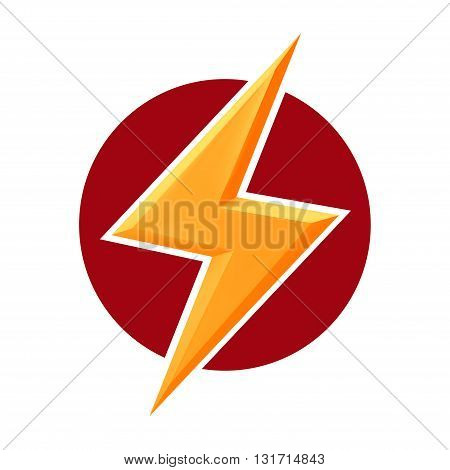 Yellow thunderbolt on red round.vector doodle illustration isolated