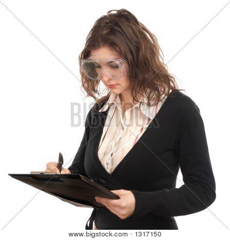 Woman Engineer Writing