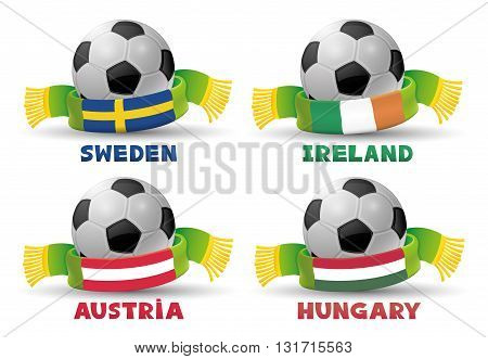 Green scarves with the flags of Sweden, Ireland, Austria, Hungary and soccer balls.