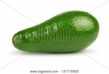 Green ripe avocado fruit on white background