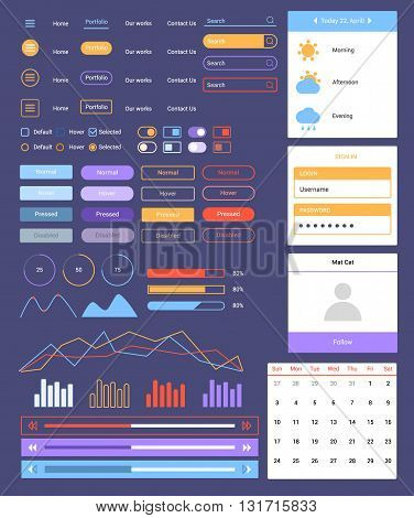 Ultimate dark web UI elements flat design web elements: Icons, web forms, button, check box, radio button, switch button, Tab and accordions, media player,