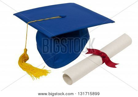 Graduation Cap With Diploma And Gold Tassel