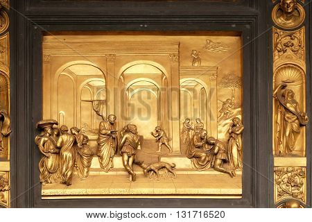 FLORENCE, ITALY - JUNE 05: Baptistry of Saint John, Gates of Paradise, Isaac with Esau and Jacob, Florence, Italy on June 05, 2015