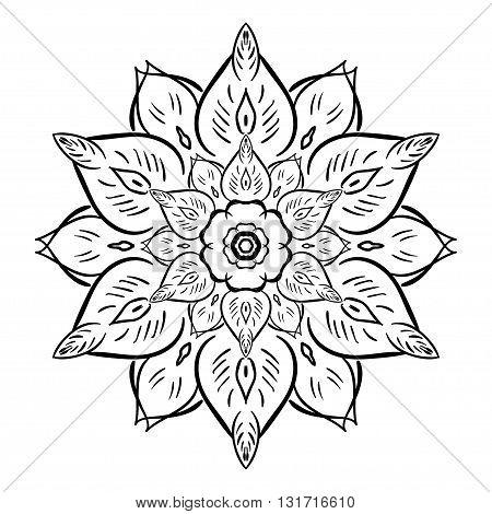 Coloring Book Mandala. Isolated mandala. Vector images, design. Black mandala illustration. Flourish mandala