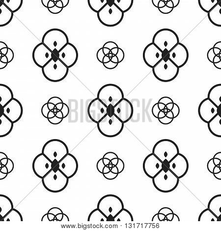 Black and white ethnic geometric flowers seamless pattern. Monochrome abstract geometry line floral continuous print.