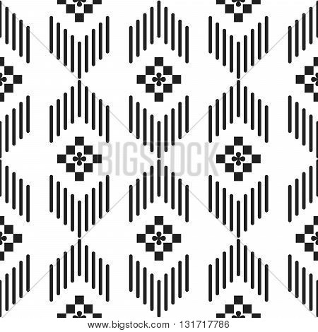 Black and white ethnic geometric lines seamless pattern. Monochrome abstract geometry continuous print.