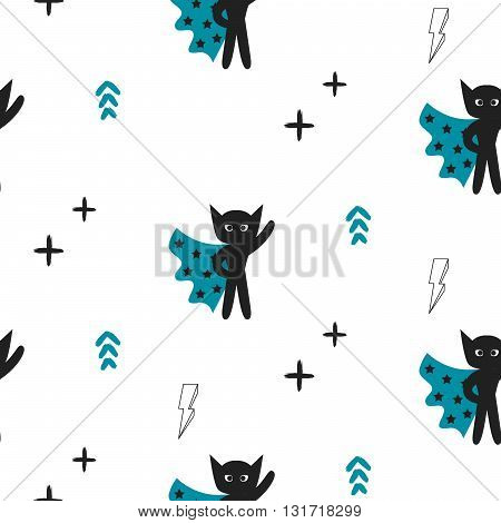 Superhero in blue cape with stars seamless kid pattern. Hero boy in mask black and white pattern for baby textile prints.