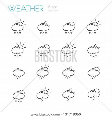 Weather Line gray icons set of 16