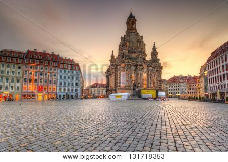 DDRESDEN, GERMANY - MAY 14, 2016: Neumarkt square in the old town of Dresden, Germany on May 14, 2016.