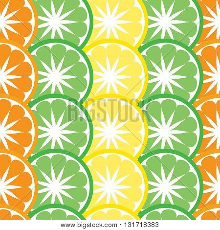 Vector seamless pattern with citrus fruis and plants.