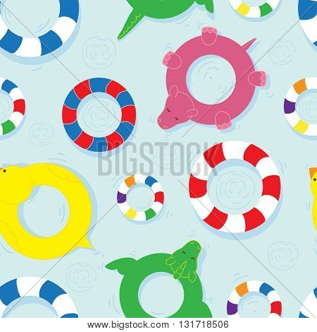 Colourful seamless pattern with life buoys on colorful background.
