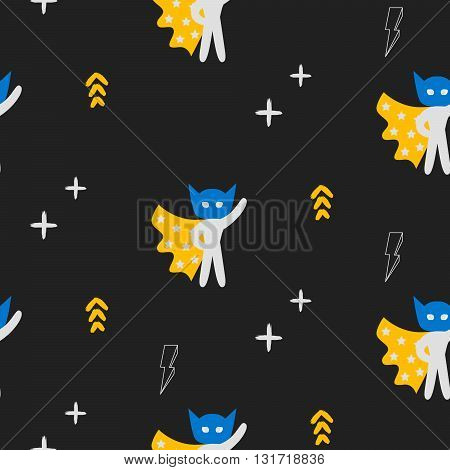 Superhero in yellow cape with stars seamless kid pattern. Hero in blue mask black pattern for baby textile prints.