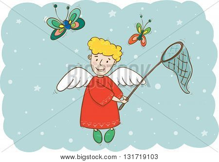Vector illustration of angel with butterfly net and butterflies