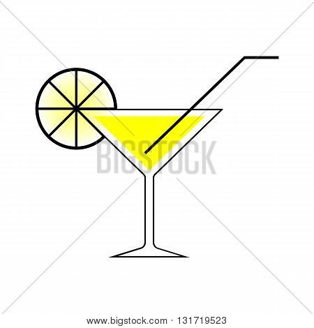 Martini glass with a straw and lemon. EPS10 Vector