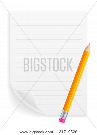 Notebook sheet and pencil on a white background.