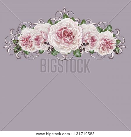 Bouquet of pink flowers camellia in a silver frame. Isolated. Silver weave. Floral background.
