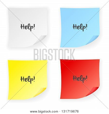 Stick note help on a white background. Vector illustration.
