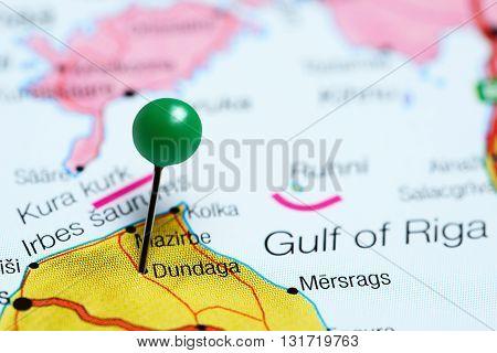 Dundaga pinned on a map of Latvia