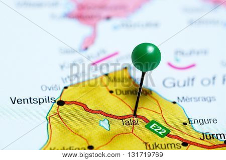 Talsi pinned on a map of Latvia