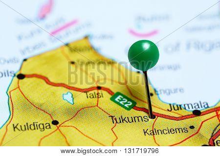 Tukums pinned on a map of Latvia
