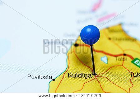 Kuldiga pinned on a map of Latvia