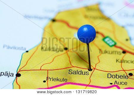 Saldus pinned on a map of Latvia