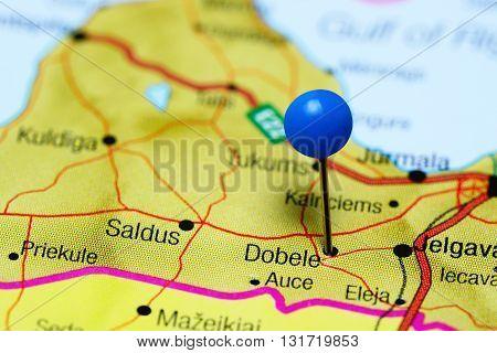 Dobele pinned on a map of Latvia