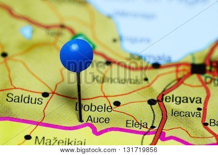 Auce pinned on a map of Latvia