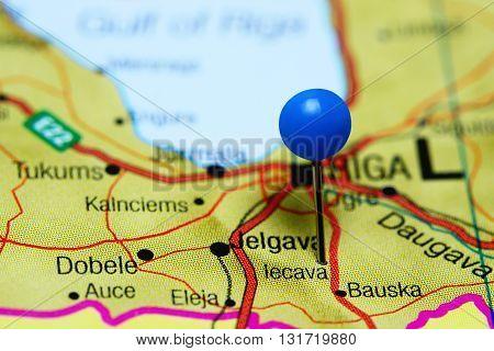 Iecava pinned on a map of Latvia