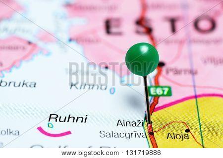 Ainazi pinned on a map of Latvia