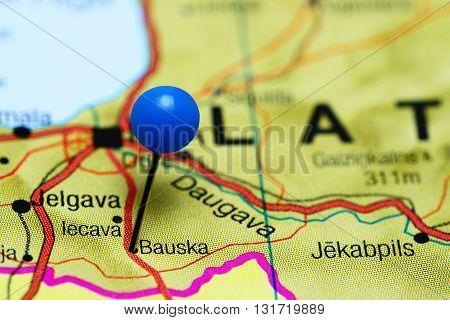 Bauska pinned on a map of Latvia