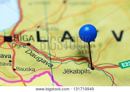 Jekabpils pinned on a map of Latvia