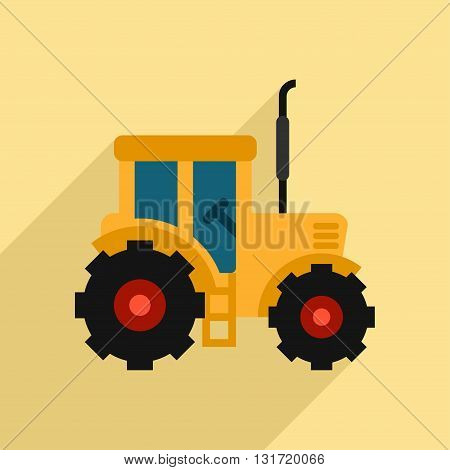 Tractor Icon Design. Flat Style Vector Illustration with Long Shadow. Tractor Vector Icon