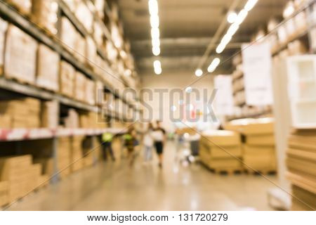 Blurred Image Of Shopping Mall With Row Of Shelf